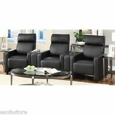 Home Theater Seating Row of 3 Black Leatherette Reclining Seats w/ 2 Consoles
