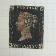 Antique Queen Victoria Victorian Penny Black Used No Margins Stamp
