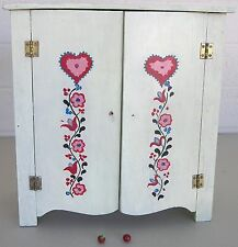 """Vintage Shabby WOOD DOLL CUPBOARD Hand Painted Flowers 2 Shelves 11.25"""" tall"""