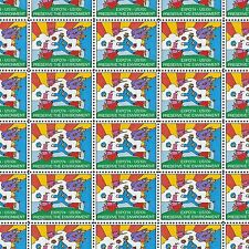 Peter Max's Cosmic Jumper 42 Years Old Vintage Mint Sheet of Stamps !