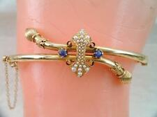 ANTIQUE VICTORIAN SOLID 14K GOLD BLUE SAPPHIRE & SEED PEARL BRACELET STUNNING