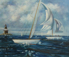 "High Quality Oil Painting of Sailboats on Stormy Sea by Lighthouse 16x20"" Canvas"