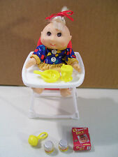 CABBAGE PATCH KIDS MINI GIRL DOLL WITH HIGH CHAIR CUP FOOD ACCESSORIES 1995 CPK