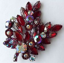 VINTAGE JULIANA RED MOLDED LEAF RHINESTONE BROOCH