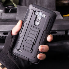 Rugged Armor Hybrid Holster Stand Hard Cell Phone Case Cover Shell For LG Phone
