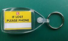 IF LOST PLEASE PHONE keyring 35x24. 'MOBILITY SCOOTER  KEY'  (Read description)
