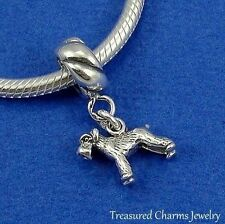 .925 Sterling Silver SCHNAUZER DOG Dangle Bead CHARM fits EUROPEAN Bracelet