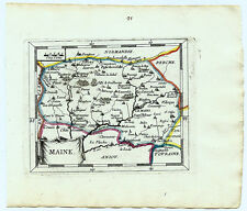 Carte ancienne DUVAL antique map 1670 MAINE Le Mans Sable Mayenne Alençon 91