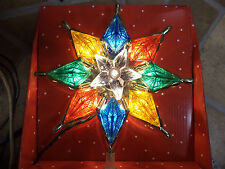 NEW-Multi Color Stained Glass Look Tree Topper-White Star In Center-