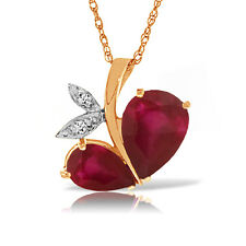 Genuine Ruby Red Gemstone Diamond 14K Solid Gold Necklace Pendant 5.30 CTW