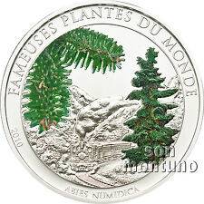CHRISTMAS PINE TREE Scented Ag Plated CuNi Train Coin 2010 Benin FAMOUS PLANTS