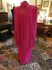 BEAUTIFUL MOTHER OF THE BRIDE OR GROOM FUSCIA FORMAL GOWN LONG SLEEVES SIZE 14