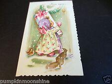 # J787- Vintage Glitter Christmas Greeting Card Angel w/ Gift Knocking at Door