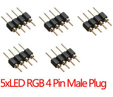 5 X 4 Pines Macho Adaptador de enchufe Conector Para Rgb 3528 5050 Tira De Luz Led Connect