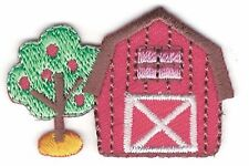 """1 1/8"""" x 1 5/8"""" Country Red Barn Farm with Apple Tree Embroidery Patch"""