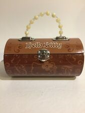 RARE  Hello Kitty Tin Purse Brown and tan 2007 Vintage Pencil Case Flower Beads