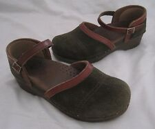 Sanita Green Patchwork Nubuck Leather Buckle Mary Janes Clogs Shoes Womens 37 7