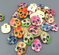 20pcs Wooden Colorful Skeleton Head Buttons Sewing decoration Scrapbooking 24mm