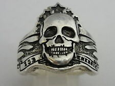 Stunning Italian Designer Sterling Silver Gothic Skull Ring - Size S