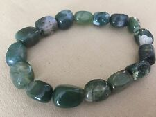 Green Moss Agate Braclet Tumbled Stone Stretchy Bracelet,Cakra, Energy,Jewellery