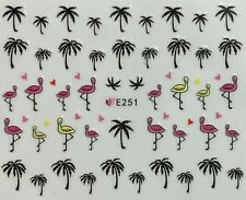 Nail Art 3D Decal Stickers Palm Trees Flamingos Tropical E251
