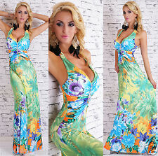 SEXY MULTICOLOUR/PINK  HALTER MAXI DRESS. ONE SIZE 8/10./12.