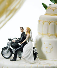 Fashion Wedding Cake Topper Figurine Bride Groom Motorcycle Marriage Gift Topper
