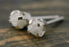 1.40+ ct Gorgeous Natural Real White Raw Rough Diamonds 925 Silver Earring N R