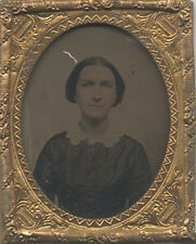 TINTED TINTYPE OF BEAUTIFUL YOUNG WOMAN W/ BROOCH - IN ORIGINAL FRAME