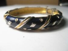 Vintage Deep Blue & Goldtone Clamper Bracelet with Rhinestoens, safety chain