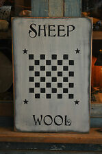 Vintage Looking White Wood Sign Sheep Wool Game Board Country Primitive Decor