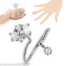 Cluster CZ Adjustable Rhodium Plated Brass Nail Ring Mid-Ring Toe Ring