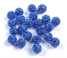 10pcs Sapphire Czech Crystal Rhinestones Pave Clay Round Ball Spacer Beads 8MM