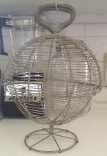 Primitive FRENCH Wire EGG Collection BASKET WIREWORK Antique