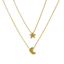 Star Moon Double-Layer Vertical Drop Bar Pendant Charm Necklace Personality Warm