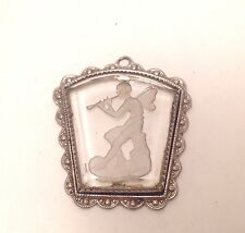 Vintage Intaglio Reverse Cameo Pendant Jewelry Fairy Playing Horn Instrument