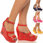 WOMENS LADIES PEEPTOE STRAPPY HIGH WEDGE JELLY RUBBER SANDALS SHOES SIZE