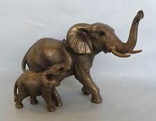 Bronze Mother Elephant & Baby Calf Figurine/Statue/Ornament * NEW * 17 cm