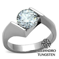 Women's Ring Wedding 1.85Ct Round Cut Stainless Steel Shiny Ring Size 8 #XRC