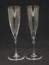 Pair Signed Baccarat France Crystal Dom Perignon Toasting Flutes Stems in Box