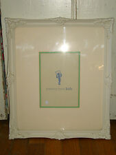 Pottery Barn Kids Baby Vintage Shabby Carved Wood Photo Frame Rustic White Chic