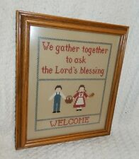 Cross Stitch Completed Welcome Lord's Blessings Man Woman Tan Framed Glass