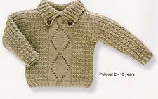 Baby Boy Aran Pullover/Sweater Button Down Collar  2-10 yrs Knitting Pattern