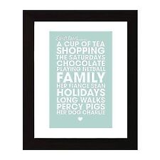 Personalised Likes Loves Print Picture, Favourite Things Print. Birthday Gift.
