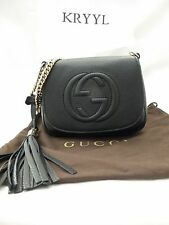 NWT Gucci Soho Leather Small Chain Crossbody Shoulder Bag, Black