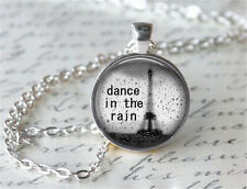 Dance in the rain Cabochon Tibetan silver Glass Chain Pendant Necklace b02!