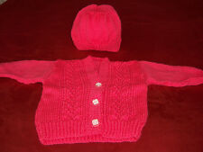 Hand knitted cardigan and hat for girls