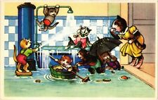 CATS PC Mother cat and her bad kittens in the bathroom (a2078)