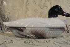 LG Wright ? Duck Figurine Purple / Amethyst  Marble Slag Covered Dish