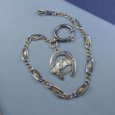 Fine Sterling Silver Niello Pocket Watch Chain Horse Fob